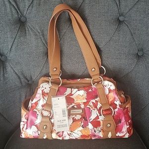 98a1871093c0 Laura Scott Pink Brown Floral Purse Bag Handbag